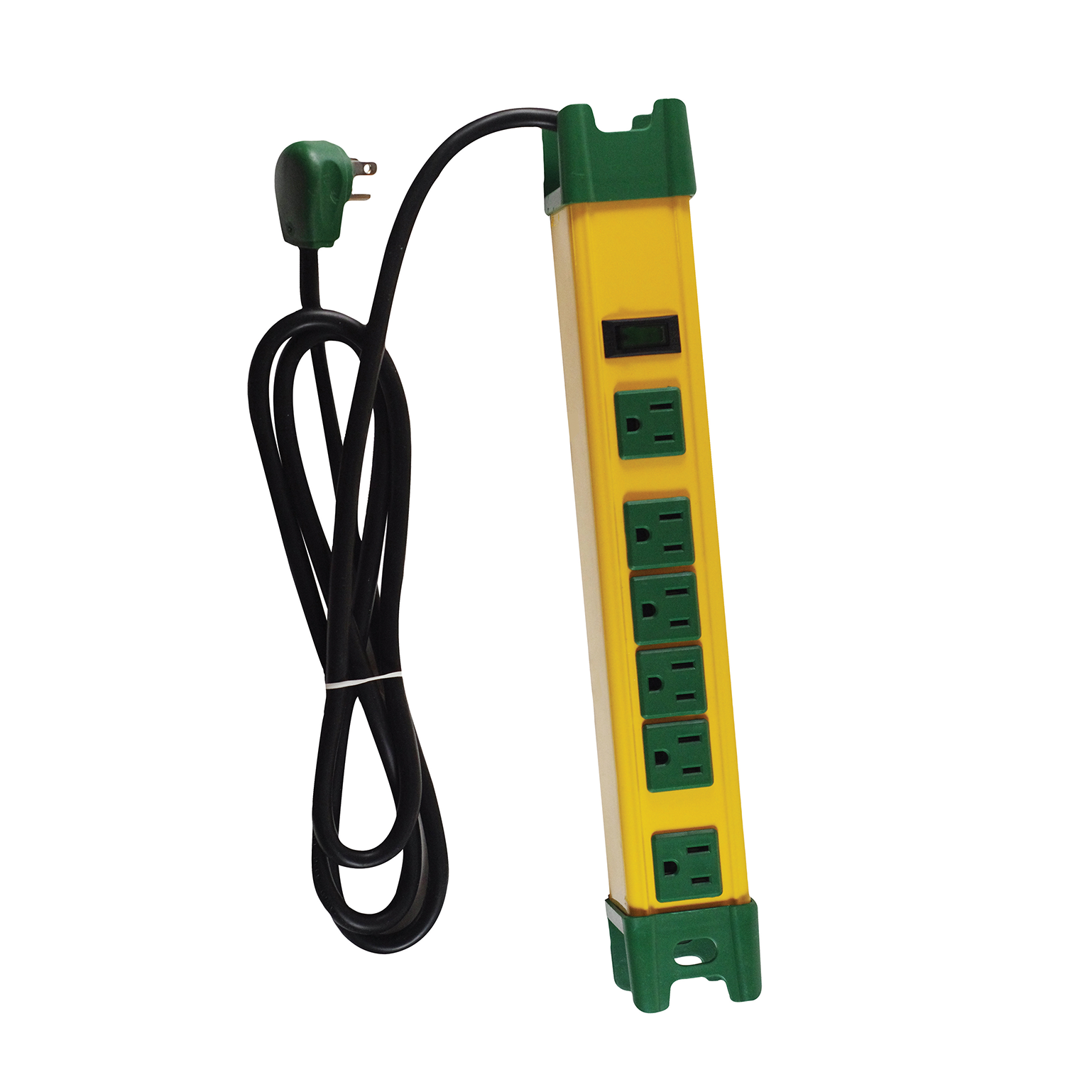 GoGreen Power 6 Outlet Metal Surge Protector, 6' cord, 26114 Yellow/Green