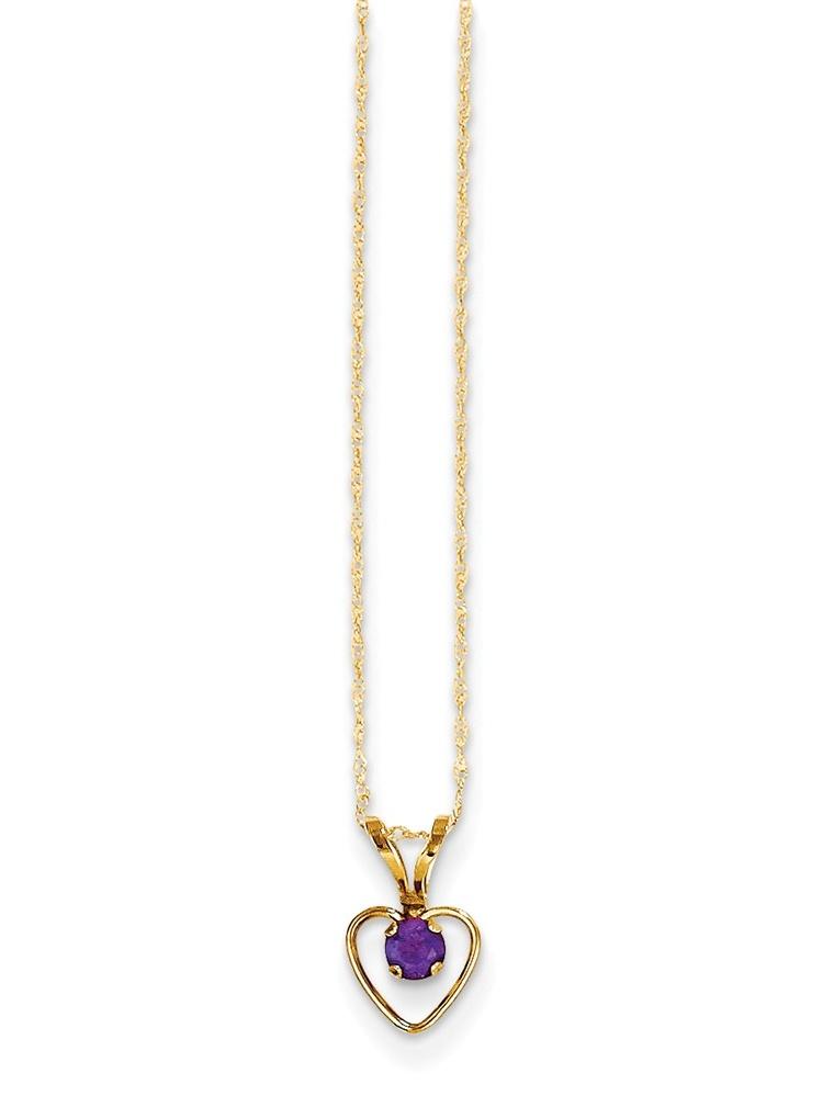 14k Madi K 3mm Amethyst Heart Birthstone Necklace by