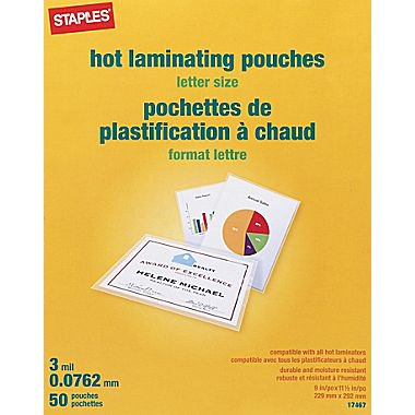 Staples 3 mil Thermal Laminating Pouches, Letter Size, 50 pack (Laminating Sheets 3 Mil)
