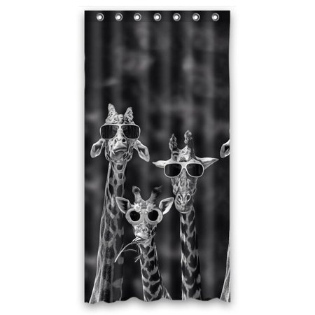 GCKG Giraffe Wearing Glasses Funny Pattern Bathroom Shower Curtain, Shower Rings Included Polyester Waterproof Shower Curtain 66x72 Inches - image 4 of 4