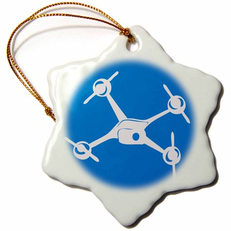 3dRose Big Blue Drone, Small Unmanned Aerial Vehicle, Snowflake Ornament, Porcelain, 3-inch