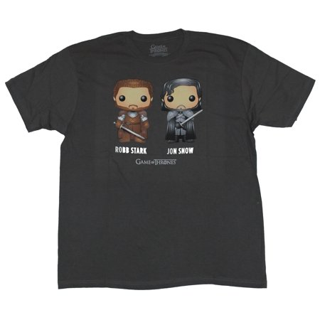 Game of Thrones Mens T-Shirt  - Robb Stark & Jon Snow Funko Pop Style Duo Imag (Game Of Thrones Jon Snow Costume)