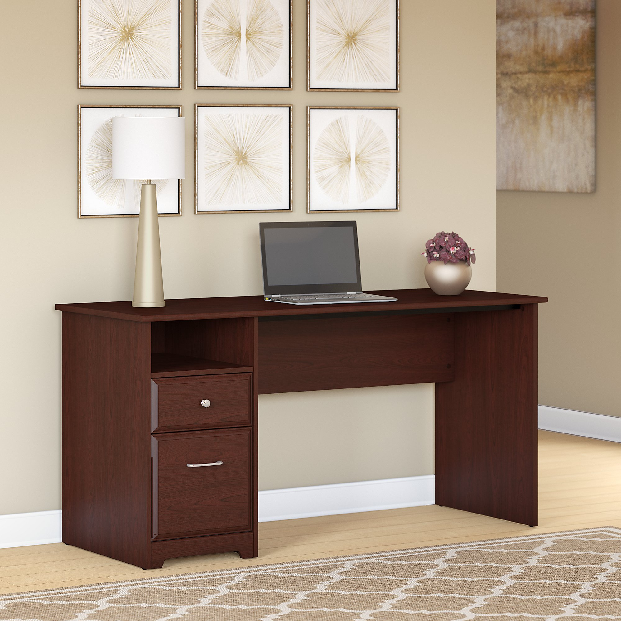 Bush Furniture Cabot 60W Computer Desk with Drawers in Harvest Cherry