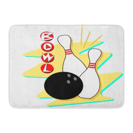 GODPOK Alley Vintage Retro Styled Bowling Clip Fully Scalable and 1950S Ball Rug Doormat Bath Mat 23.6x15.7 inch (1950s Bowling)