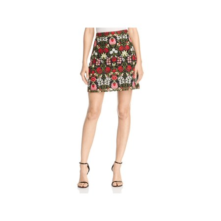Lucy Paris Womens Marina Embroidered A-Line Mini Skirt