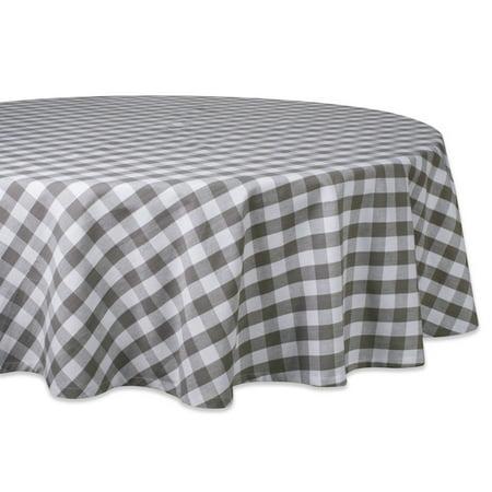 DII Gray/White Checkers Tablecloth 70 Round, 100% Cotton