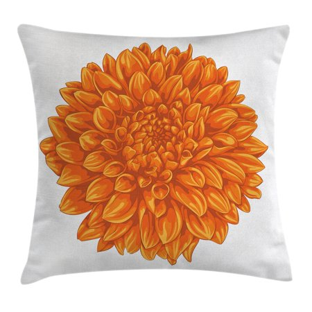 Dahlia Flower Decor Throw Pillow Cushion Cover, Funk Art Old Vintage Floral Leaf Love Valentines Mother Days Home Decor, Decorative Square Accent Pillow Case, 16 X 16 Inches, Orange, by Ambesonne