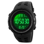 SKMEI Mens Digital Watches Waterproof LED Backlight Large Number Display Multifunction Sport Wristwatch