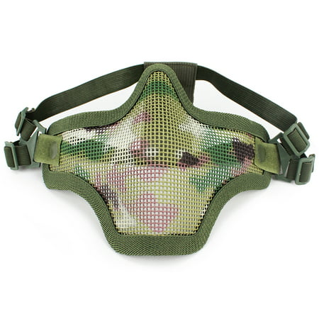 Steel Half Face Mask Protective Mesh Mask Women Teenagers Metal Low Face Mask Paintball Gaming Hunting Training CS Gaming Mask Cosplay Costume Party