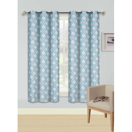 F1 BLUE TEAL 2-PC Printed BLACKOUT Room Darkening Window Curtain Treatment, Set of Two (2) Insulated Round Diamond Panels 37