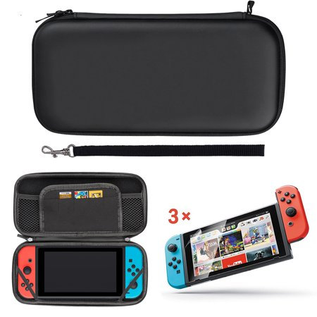 EEEKit 2in1 Starter Kit for Nintendo Switch, Portable Carrying Travel Protective Case Game Card Storage Bag + 3pcs Clear HD Screen Protectors