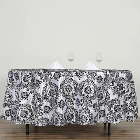 Efavormart Round Flocking Damask Tablecloths for Kitchen Dining Catering Wedding Birthday Party Decorations Events ()