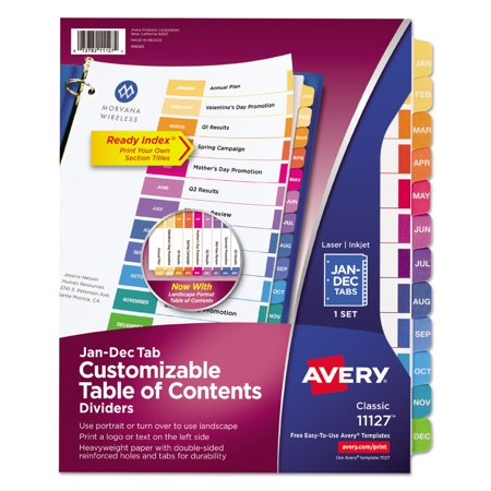 Avery Ready Index Table Of Contents Dividers 11127  12 Tab Set