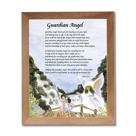 Guardian Angel Picture Frame - Honey Guardian Angel Children On Bridge #2 Wall Picture Honey Framed Art Print