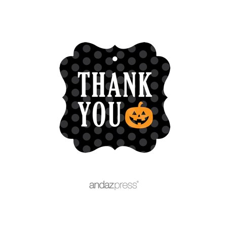 Printable Halloween Gift Labels (Thank You Orange Black & Orange Halloween Thank You Fancy Gift Tags,)