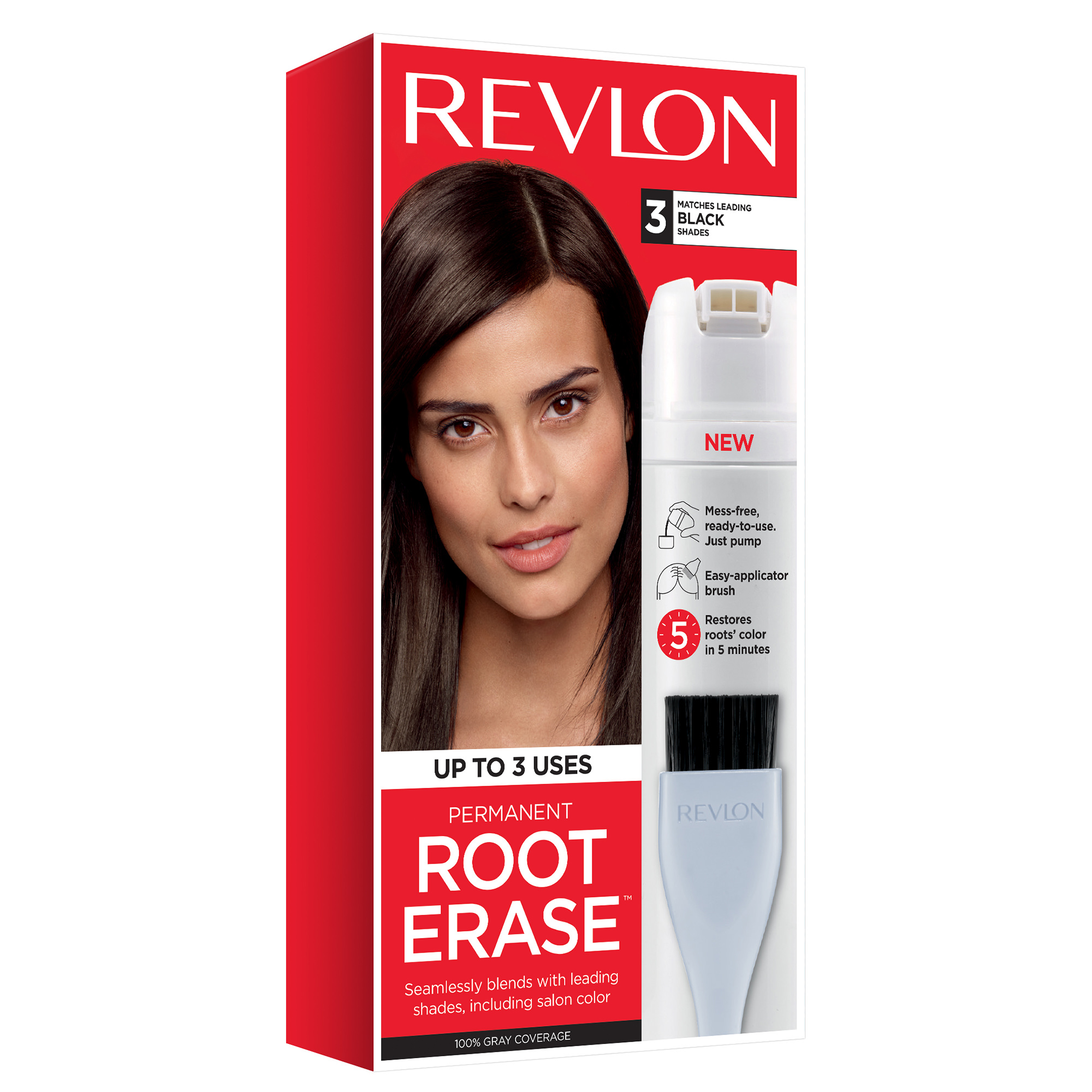 Revlon Permanent Root Erase Roots Touch Up Hair Color Root Touch Up - Black - 3.2 fl oz
