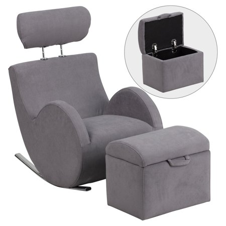 Flash Furniture HERCULES Series Fabric Rocking Chair with Storage Ottoman, Multiple Colors ()