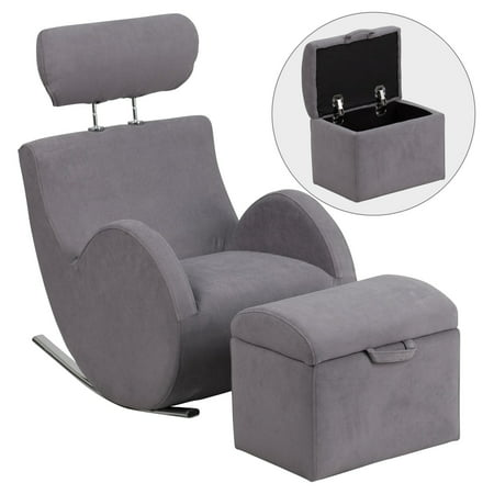 Recliner Chair And Ottoman (Flash Furniture HERCULES Series Fabric Rocking Chair with Storage Ottoman, Multiple)