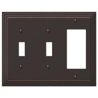 Double Toggle GFCI Rocker Wall Switch Plate Cover, Oil Rubbed Bronze ()