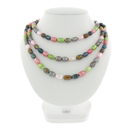 Genuine Freshwater Cultured 8x10mm Multi Colored Pearl Necklace, 60 - Colored Round Pearl