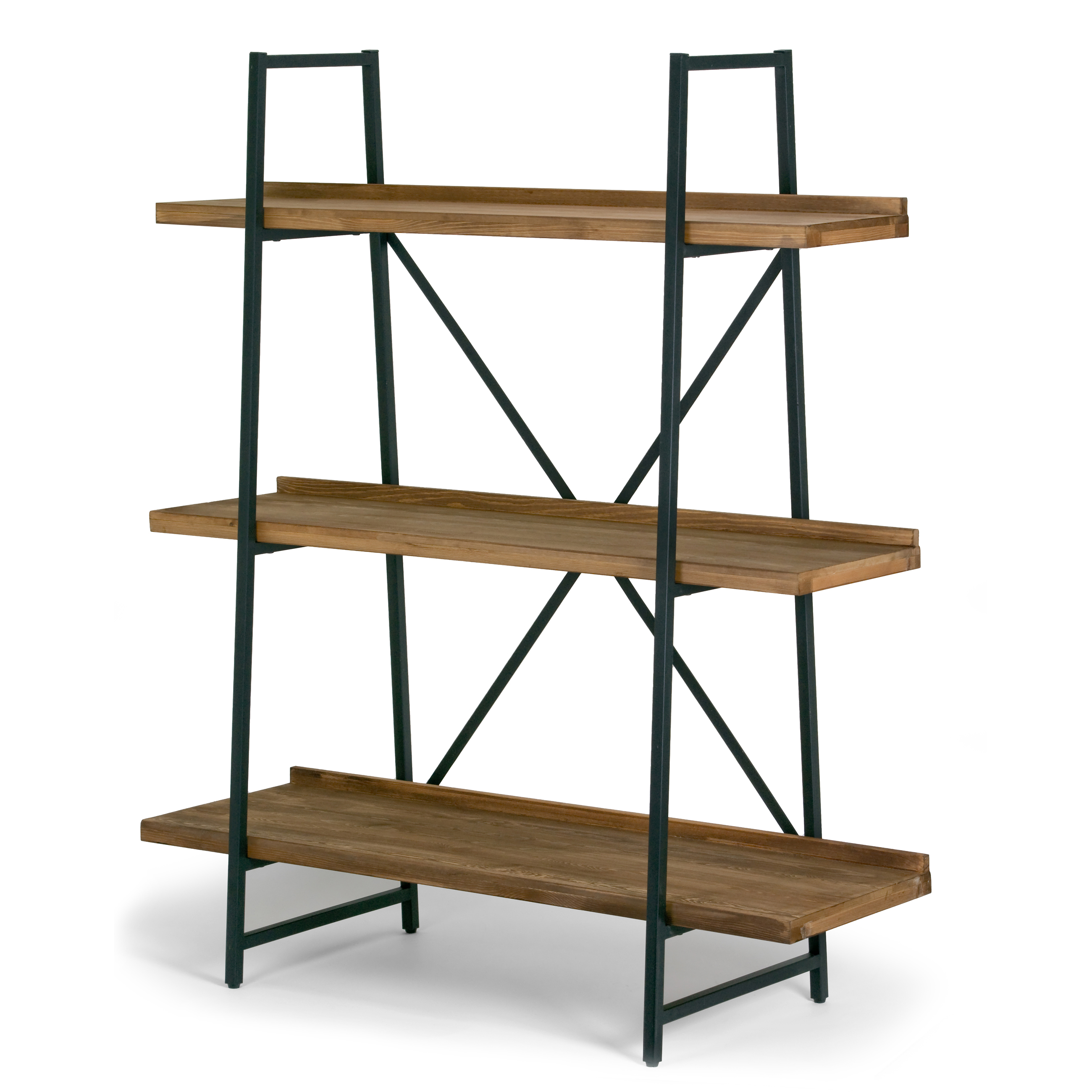 """Ailis 56"""" Brown Pine Wood Metal Frame Etagere Bookcase Three-shelf Media Center by Glamour Home"""