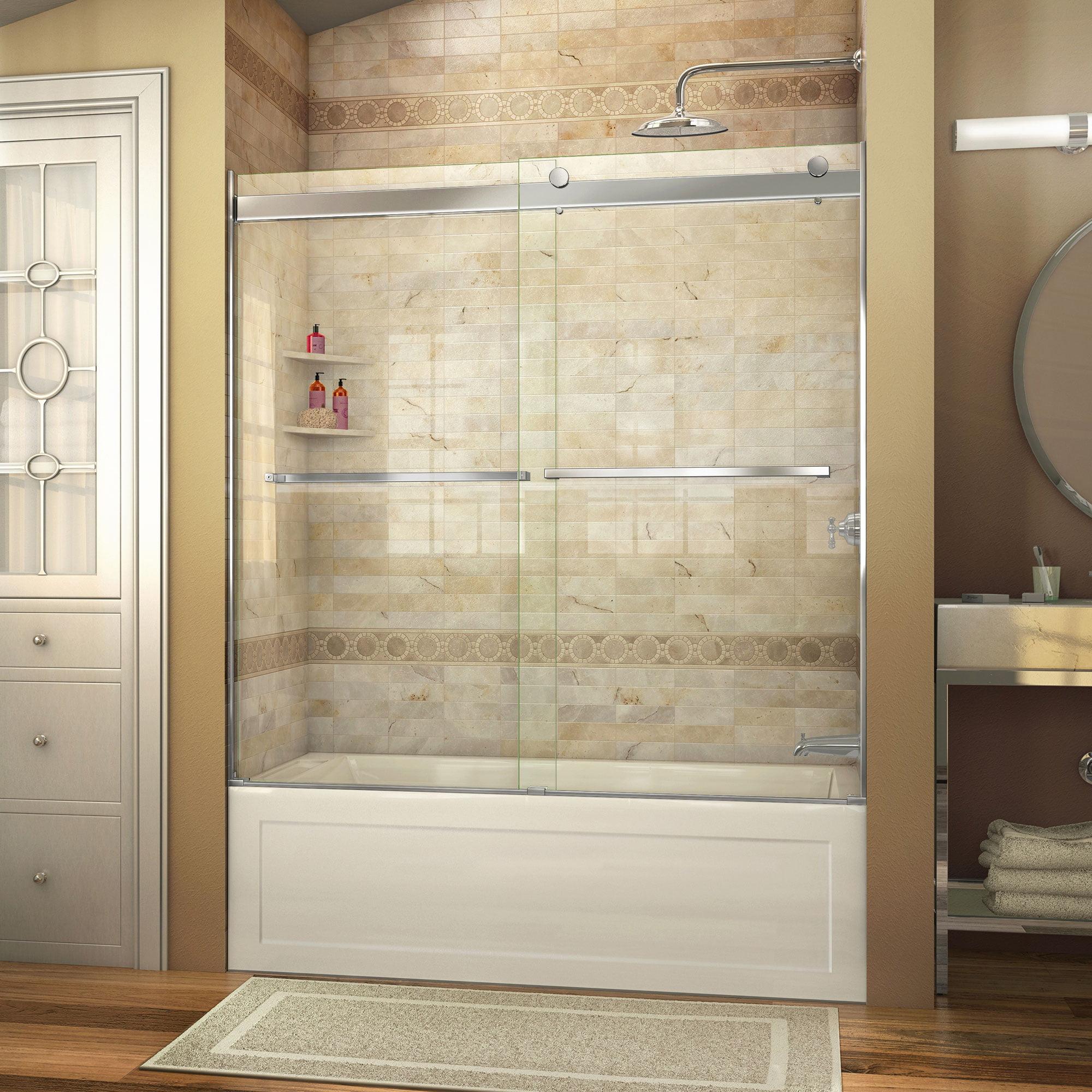 DreamLine Essence 56-60 in. W x 60 in. H Frameless Bypass Tub Door in Brushed Nickel