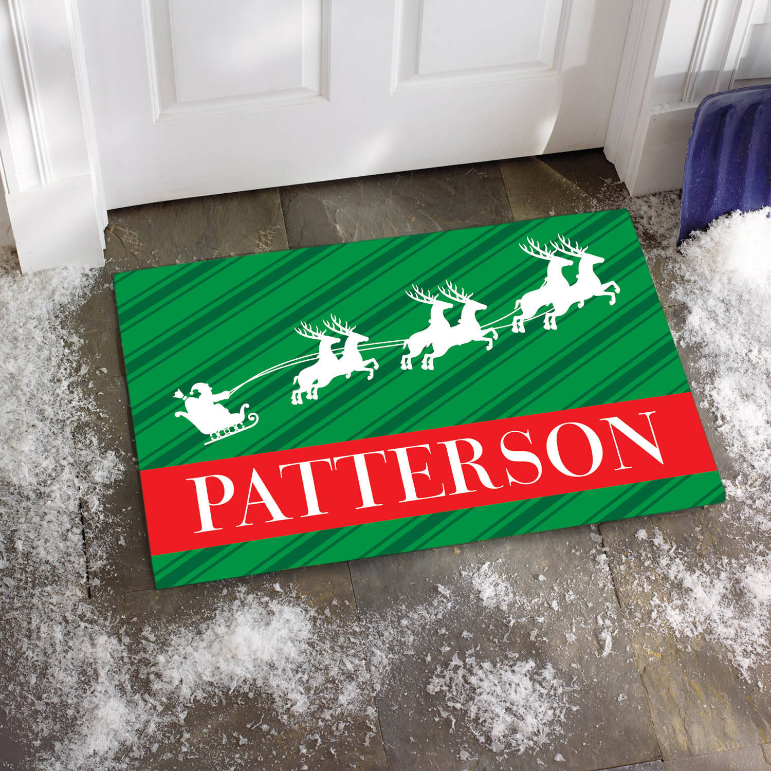 Personalized Santa and Reindeer Family Name Doormat, Available in Different Sizes