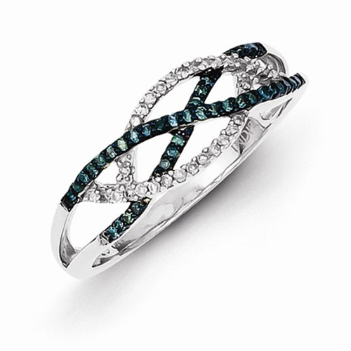 Sterling Silver W/ Rhodium-plated Blue and White Diamond ...