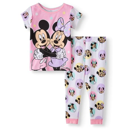 Minnie Mouse Cotton tight fit pajamas, 2pc set (baby girls)