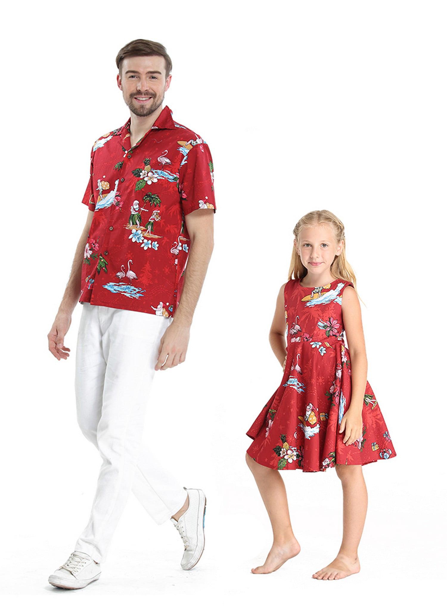 Matching Father Daughter Hawaiian Luau Dance Shirt Vintage Dress Santa in Hawaii Christmas