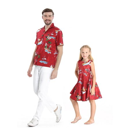 Girls Christmas Island - Matching Father Daughter Hawaiian Dance Shirt Vintage Dress Christmas Santa in Hawaii Red Men 3XL Girl 8