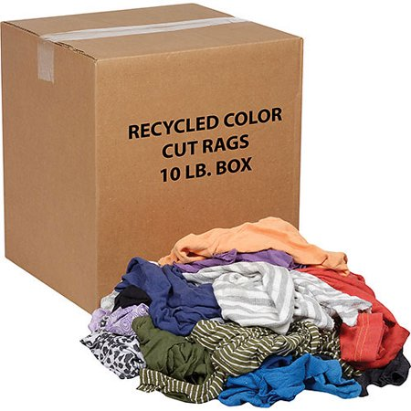 10 Lb. Box Recycled Cut Rags, Mixed Colors, Lot of 1