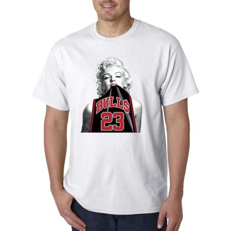 Trendy USA 420 - Unisex T-Shirt Marilyn Monroe Bulls 23 Michael Jordan Jersey XL White