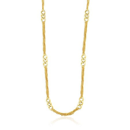 14K Yellow Gold Necklace with Cluster Curb Chains and Oversized Link Stations - - Oversized Necklace