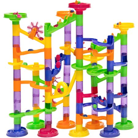 Best Choice Products 105-Piece Kids Transparent Plastic Building Block Construction Marble Run Coaster Track for STEM, Learning, Education w/ 75 Structure Pieces, 30 Marbles -