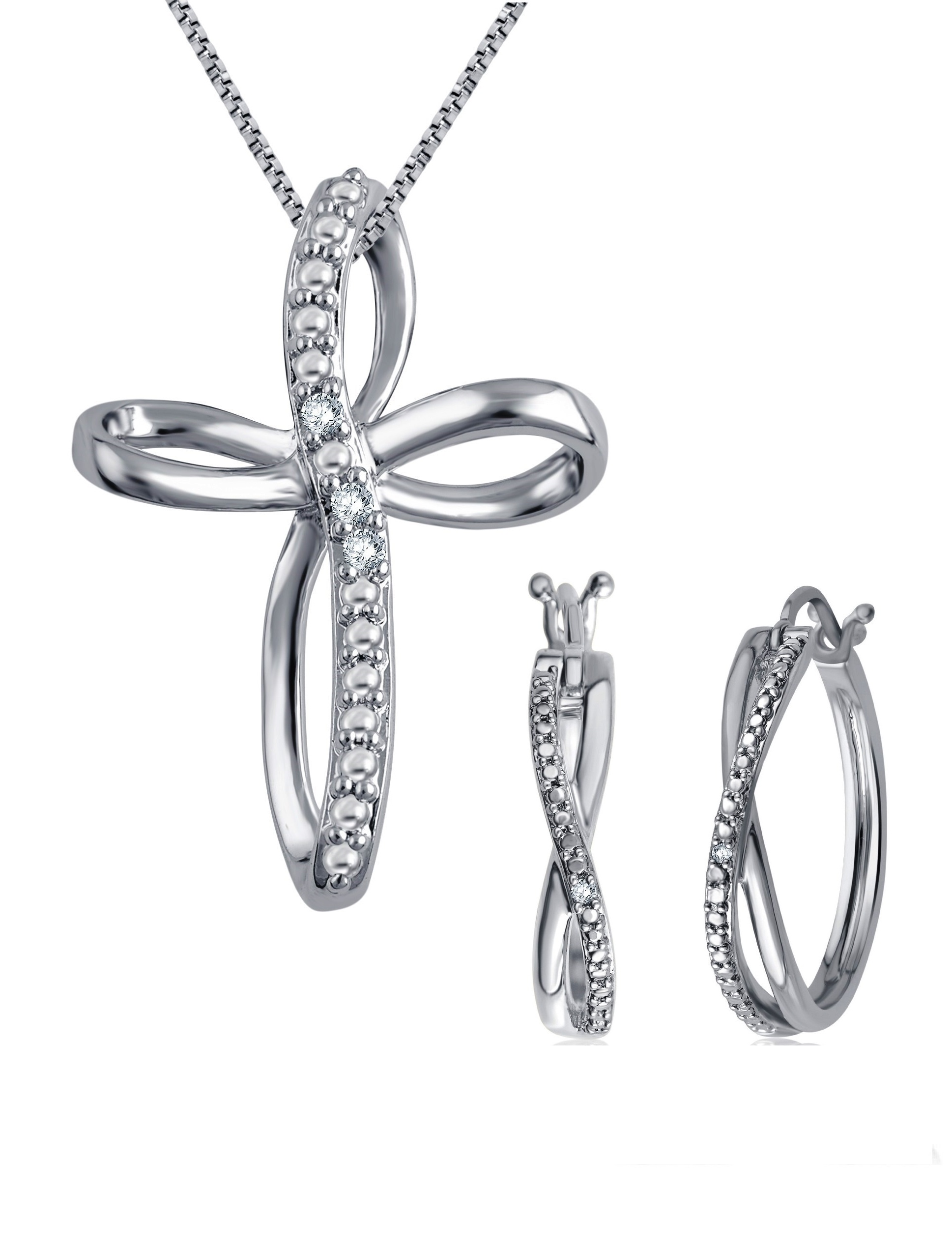 Gorgeous 0.25 Carat Diamond Accent 2 Piece Hoop Criss Cross  Necklace & Earrings Set  In 14K White Gold Plated