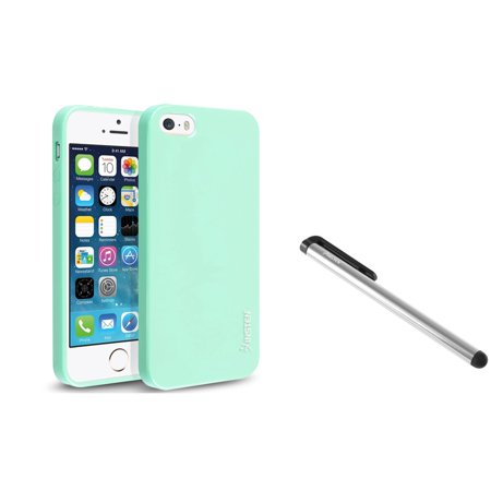 Insten Mint Green Jelly Rubber TPU Case Skin+Stylus For iPhone 5S 5 5G
