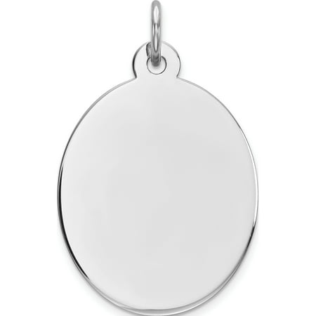 925 Sterling Silver Engraveable Oval Polished Front/Back Disc Pendant / Charm - image 2 of 2