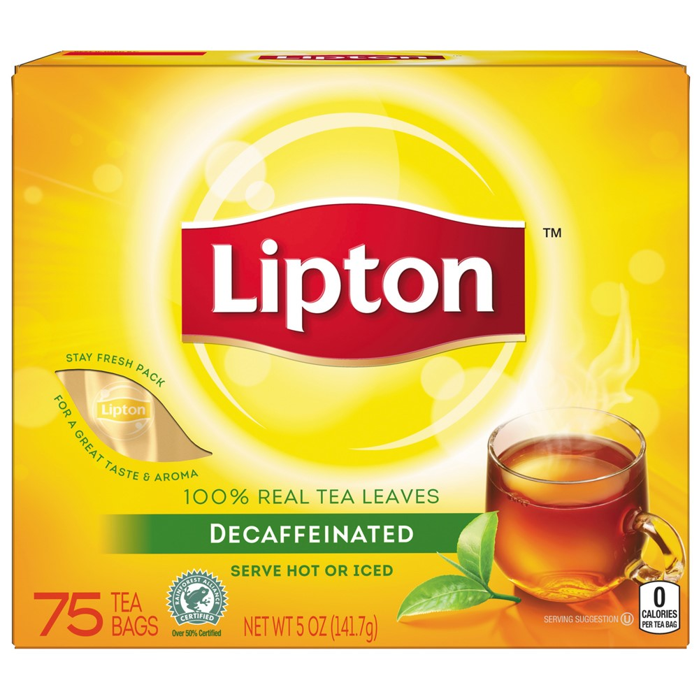 (6 Boxes) Lipton Black Tea Bags Decaffeinated, 75 Ct