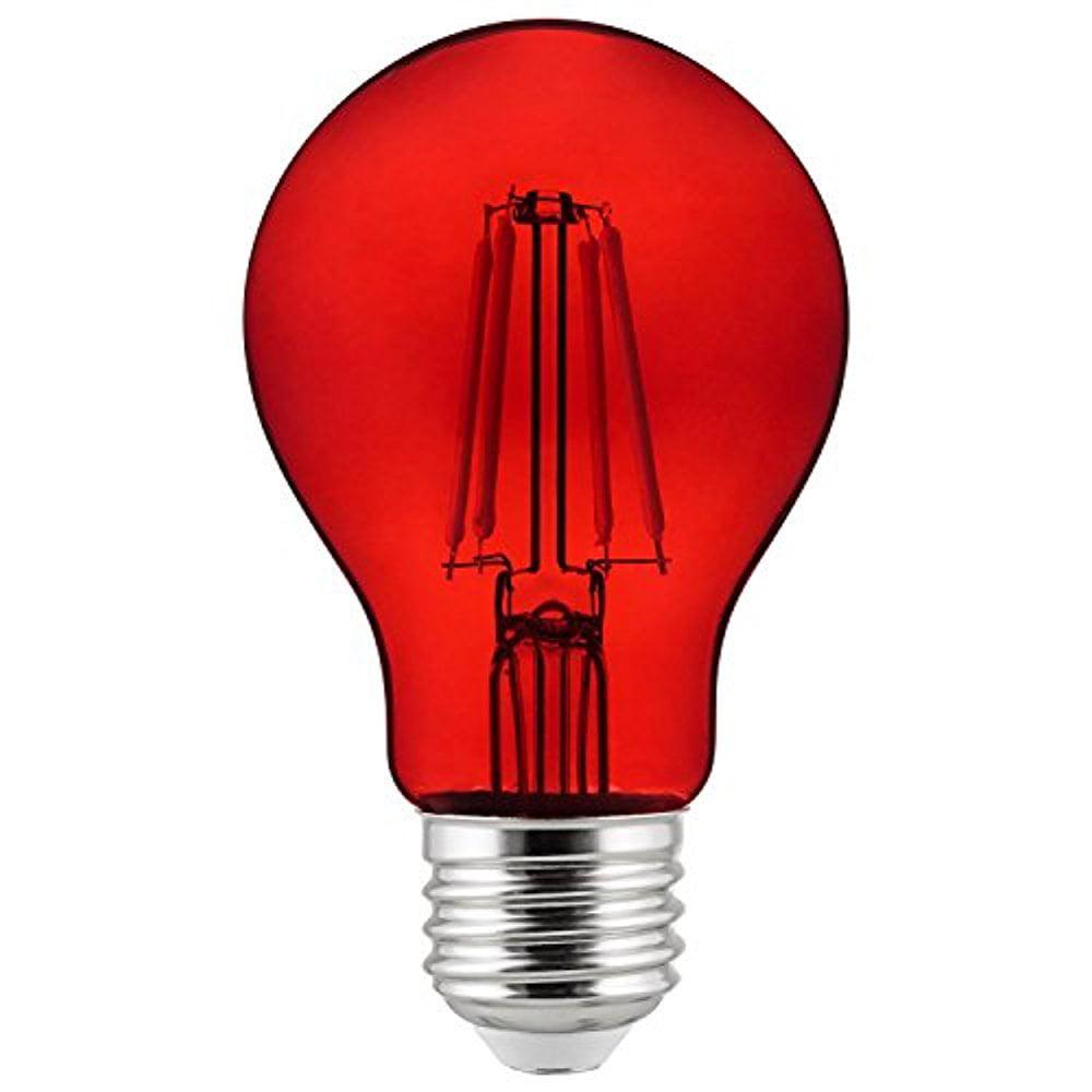 Sunlite 81082-SU LED 4.5 Watt A19 Lamp Medium (E26) Base, Red Filament Bulb