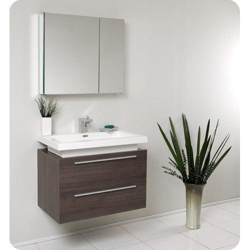 Fresca Senza 31'' Single Medio Modern Bathroom Vanity Set with Mirror