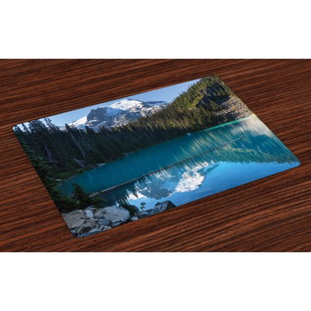 Landscape Placemats Set of 4 Lake in Northern Canada with Slim Trees and Snowy Frozen Mountain Novelty, Washable Fabric Place Mats for Dining Room Kitchen Table Decor,Blue White Green, by - Canadian Place