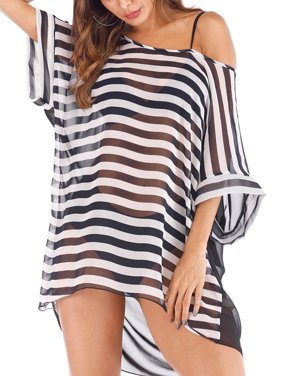 f61911fa11 Product Image Plus Size Sexy Stripe Chiffon Swim Cover Ups for Women Bikini  Warp Cover Up Beach Dress