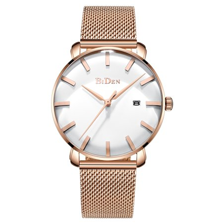 Mens Quartz Watch Gold Steel Mesh Belt Analog Display Date Fashion Mens Choice Best for Gift