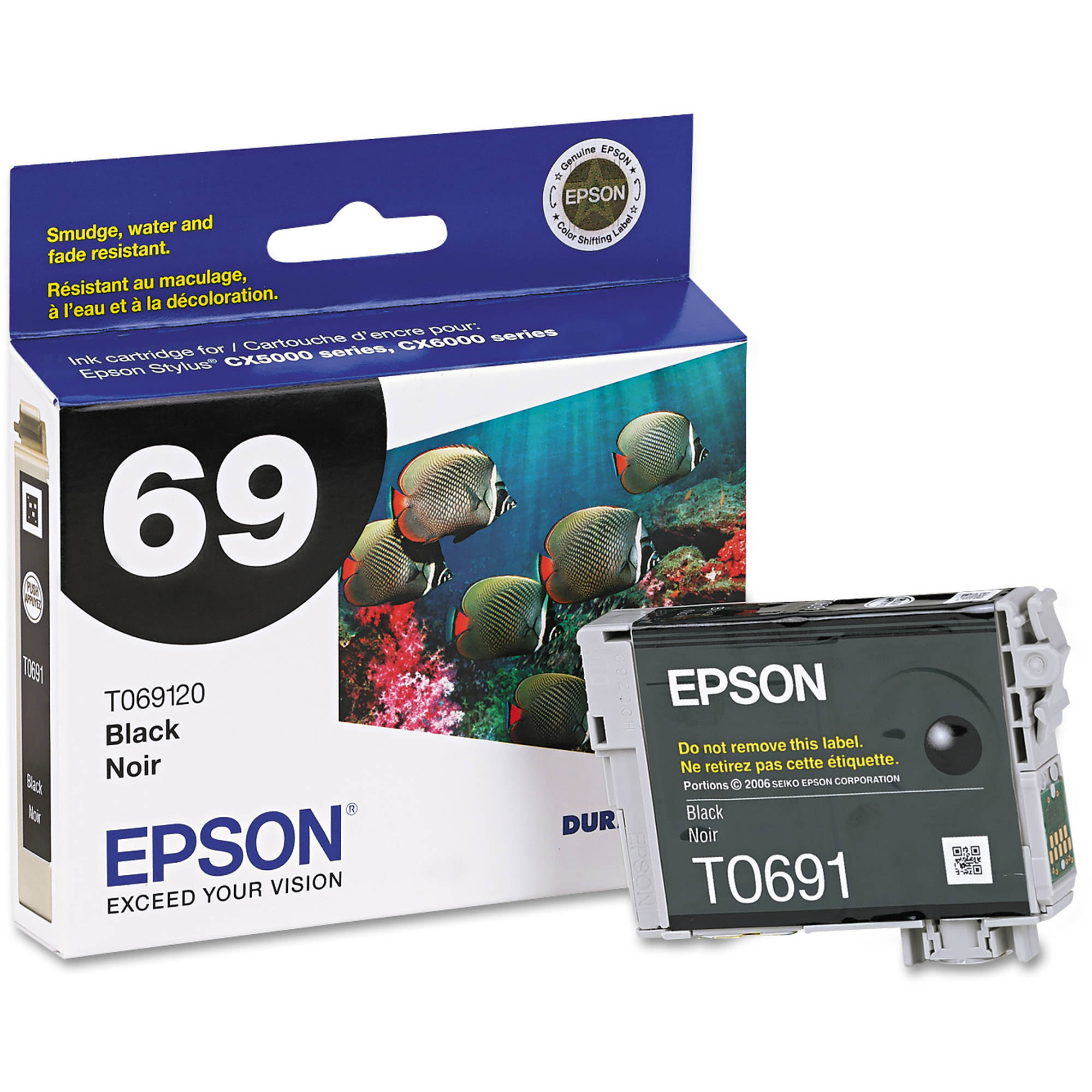 Epson DuraBrite Ultra Ink Black Cartridge for Stylus CX5000, CX6000, CX8400, CX9400 (T069120)