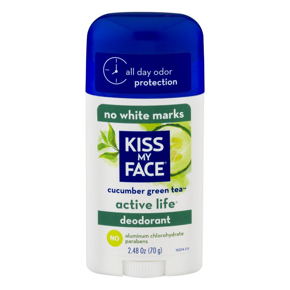 Kiss My Face Active Life Deodorant Cucumber Green Tea, 2.48 OZ