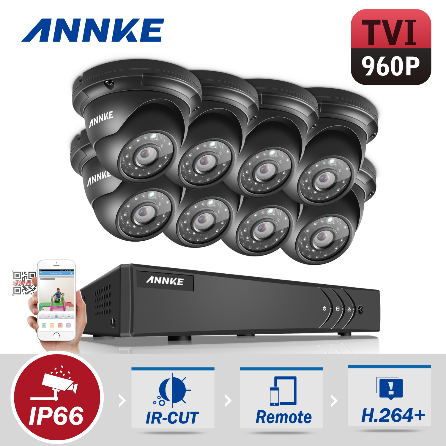 ANNKE HD 1080P 8CH CCTV System Video Recorder DVR 8PCS 960P 1.3MP Surveillance Camera IR CCTV kits for Home Security with NO Hard Drive Disk