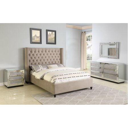 Beige Contemporary California King Size 4piece Solid Wood Bedroom Furniture  Set - Walmart.com