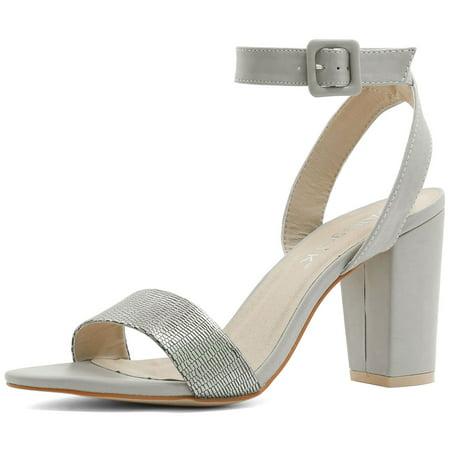 Unique Bargains - Unique Bargains Women s Textured Vamp Chunky Heel Ankle  Strap Sandals Silver (Size 11) - Walmart.com