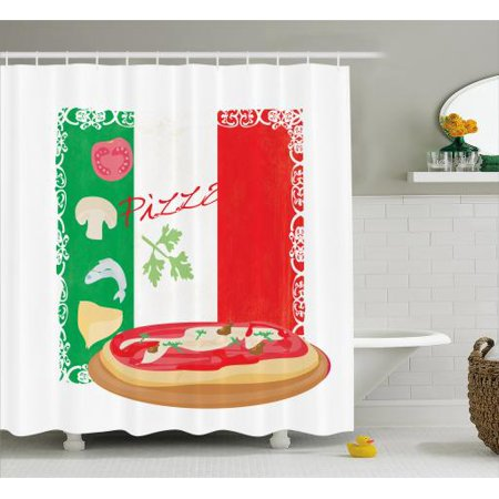 Pizza Shower Curtain Delicious Food On Italian Flag Background Cuisine Pizzeria Kitchen Concept